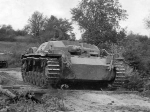 A Leibstandarte StuG III in action. Note the fixed turret