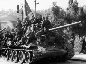 The finest version of the Soviet T34 tank, the T34/85, equipped with the powerful 85mm main gun