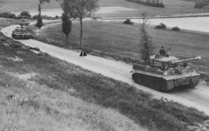 Led by Wittmann's Tiger Nr. 205, Tigers of the Second Company head towards the area surrounding the town of Villers-Bocage, June 1944