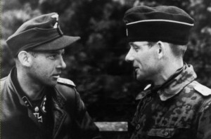 "Wittmann with SS-Sturmbannführer Heinz ""Hein"" von Westernhagen, from whom Wittmann assumed the position of battalion commander in July 1944"