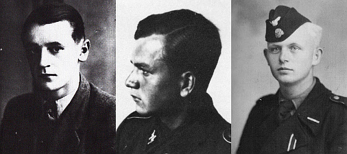 Three of the Tiger's crew who would not return on 8th August 1944. From l to r: SS-Unterscharführer Karl Wagner (gunner), SS-Sturmmann Rudolf Hirschel (radio operator), SS-Unterscharführer Heinrich Reimers (driver). The fourth crewman was loader SS-Sturmmann Günther Weber