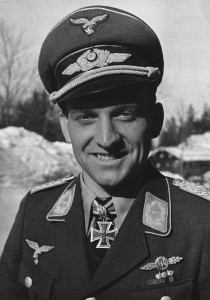Luftwaffe Stuka ace Oberst Hans-Ulrich Rudel wearing the coveted award, the Knight's Cross with Oakleaves, Swords and Diamonds