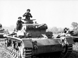 An Army Panzer III (Sd. Kfz. 141), in action in Poland in 1939