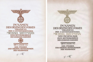 Wittmann's certficates for the Ritterkreuz and Oakleaves