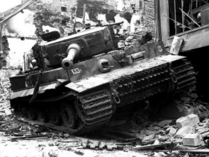 One of the Tigers of SS-Hstuf. Rolf Möbius's 1. Kompanie after the second assault on the town centre on the afternoon of 13th June