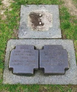Michael Wittmann's grave after the headstone was stolen in July 2015.