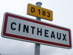 The sign marking the entrance to Cintheaux, where Michael Wittmann's final battle would begin on August 8th, 1944