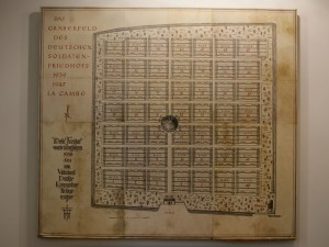 The map of the cemetery at the entrance portal, la Cambe