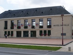 The new Town Hall, Villers-Bocage. It is located approximately where the Huet-Godefroy store once stood