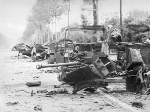 Destroyed vehicles of the 1st Rifle Brigade on the RN 175 towards Villers-Bocage