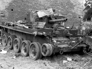 The knocked-out Cromwell belonging to Lt. Cloudsley-Thompson in June 1944