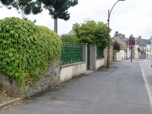 Rue Georges Clemenceau into town, and the garden where Pat Dyas would make his temporary escape
