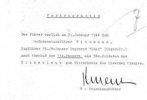 Oakleaves Memorandum from Hitler