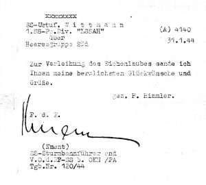 Himmler's greetings following the award of the Oakleaves, 31st January 1944