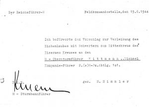 Himmler's recommendation for the Swords, 19th June 1944