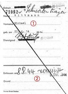 Wittmann's MIA Note