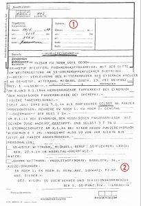 Telegram recommending Wittmann for the Knight's Cross
